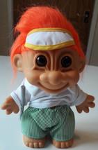 "Russ Berrie Vintage Troll Hockey Stick, Orange Hair, White Shirt approx 8"" - $23.66"