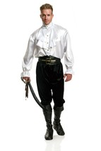 Charades Pirate Captain Satin Ruffle Shirt Adult Mens Halloween Costume ... - $46.83