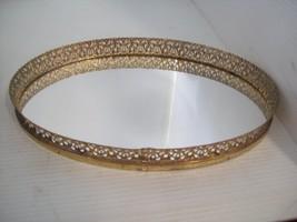 "13"" x 9"" Oval Vanity Mirror Table Mirror Dresser Vanity Tray Ornate  F2 - $22.72"
