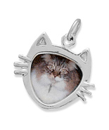 Sterling Silver Cat Face Picture Frame Charm - $26.95