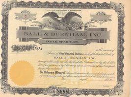 BALL & BURNHAM, INC. old stock certificate - $50.00