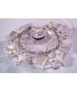 Bracelet Clear Faceted Crystals Sea Shell Pearls Mother Pear - $9.99
