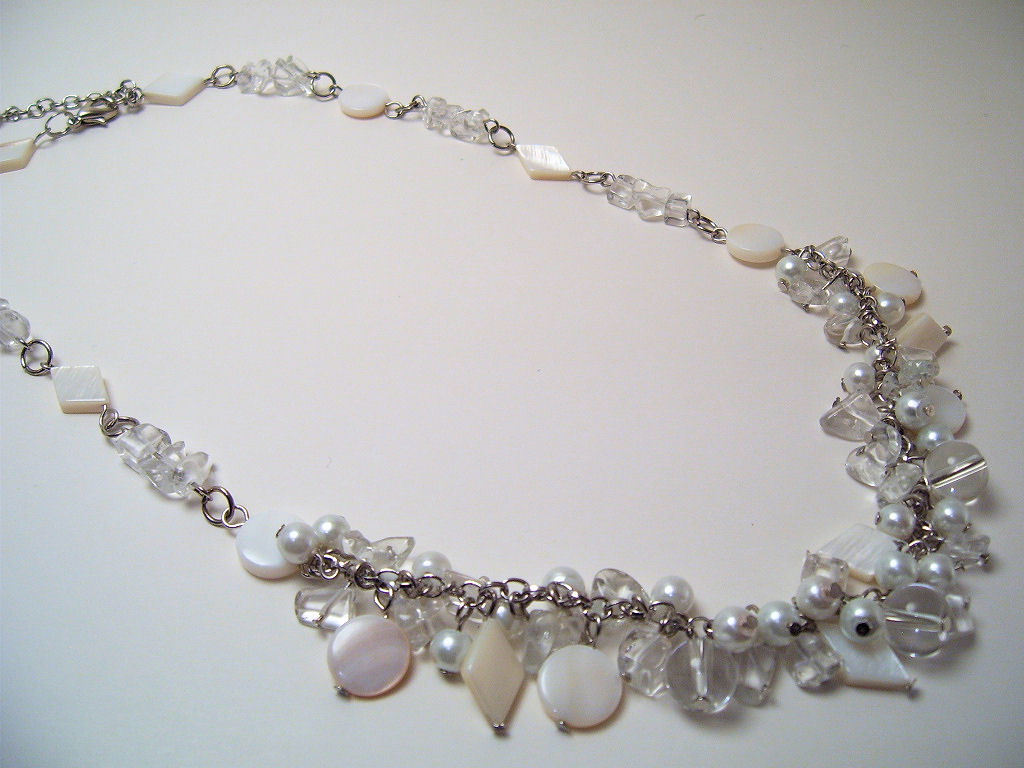 Bracelet Clear Faceted Crystals Sea Shell Pearls Mother Pear