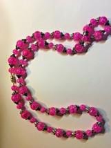 vintage crackle glass necklace hot pink silver 1970-80s - $56.10
