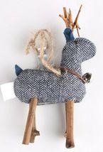 Wondershop 4 count Birchwood Bay Fabric Reindeer Ornament Set NEW w Tags image 4