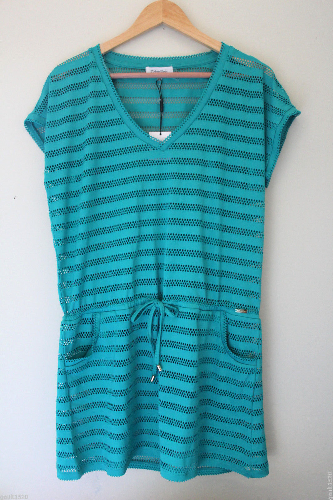 Primary image for NWT Calvin Klein Ocean Blue S. Sleeve Crochet Knit Swim Cover Up Dress S/M $78