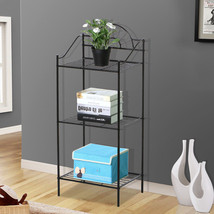 3 Tier Metal Garden Plant / Phone Stand Corner Table Black Wrought Iron - $35.49