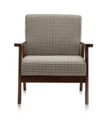 Wooden Low-Seat Armchair Couch Single-Seater Dark Wood Brown Houndstooth... - $179.95