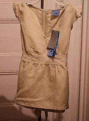 Primary image for New Girls M 10/12 Top Babydoll Tan Linen Blend Embroidered NWT
