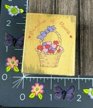 Dakin Bunches Of Hearts Rubber Stamp Basket Love Wood #D111 - $7.42