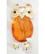 Fabulous Honey Cut Glass & Black Rhinestone Golden Owl Brooch 1960s vintage - $19.75
