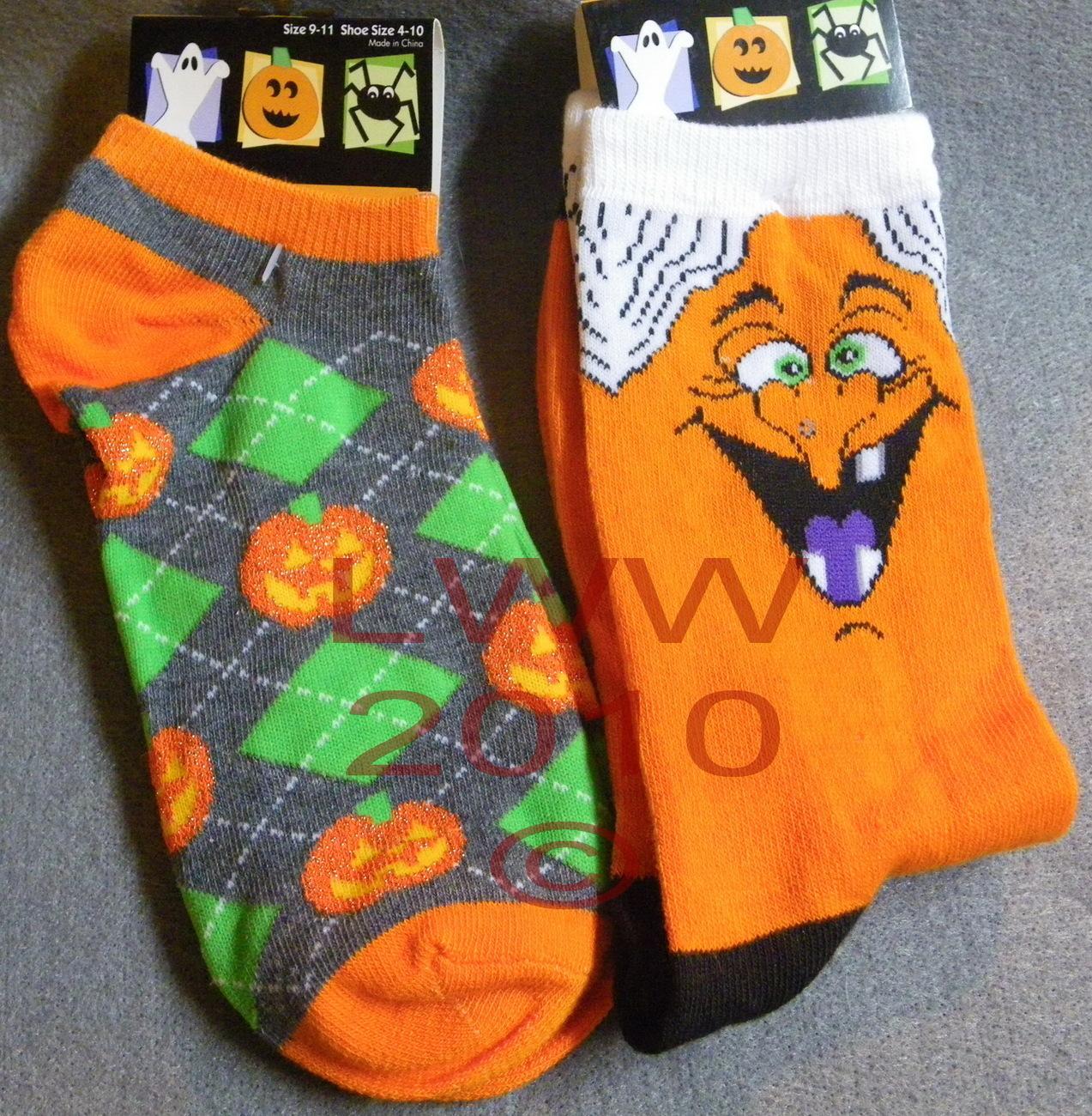 2 Pairs Orange Halloween Ladies Socks Witch & Pumpkin