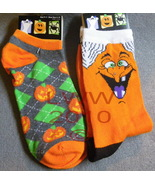 2 Pairs Orange Halloween Ladies Socks Witch & P... - $5.99