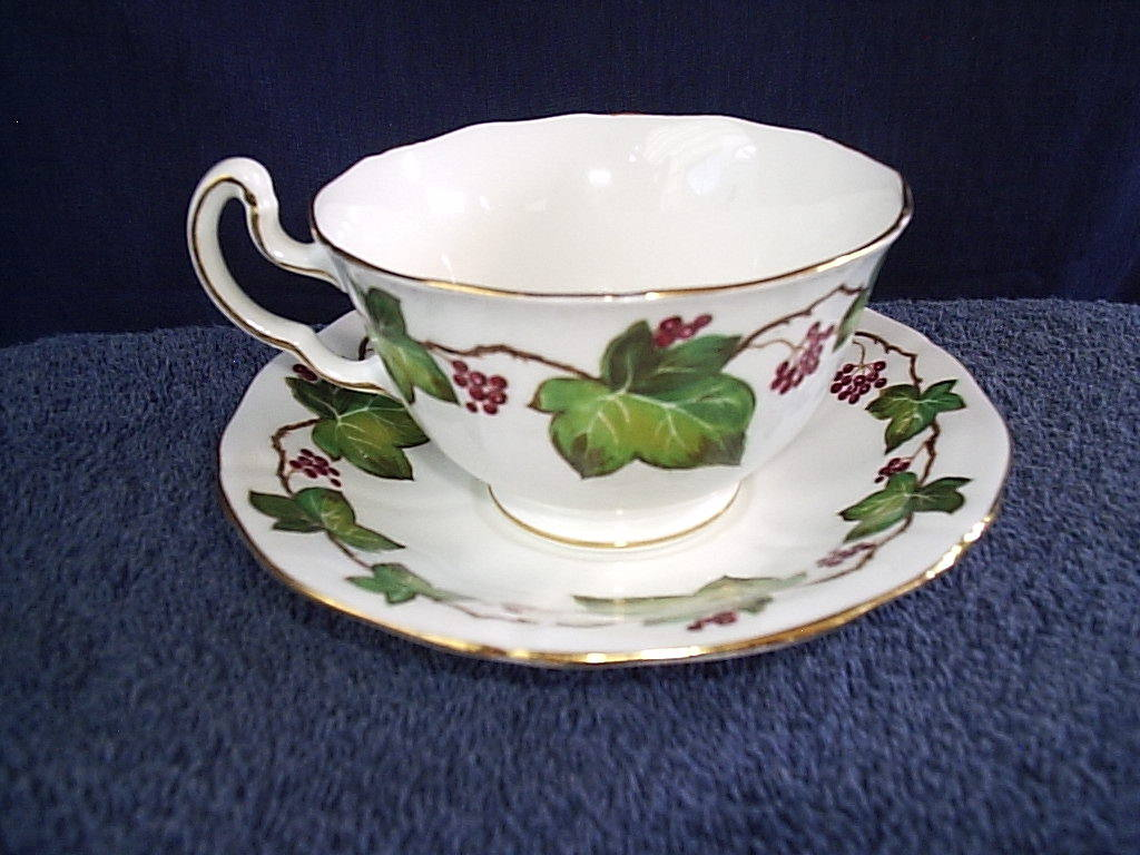 Cup and Saucer Royal Adderley Ivy White Green Red Vintage Collector