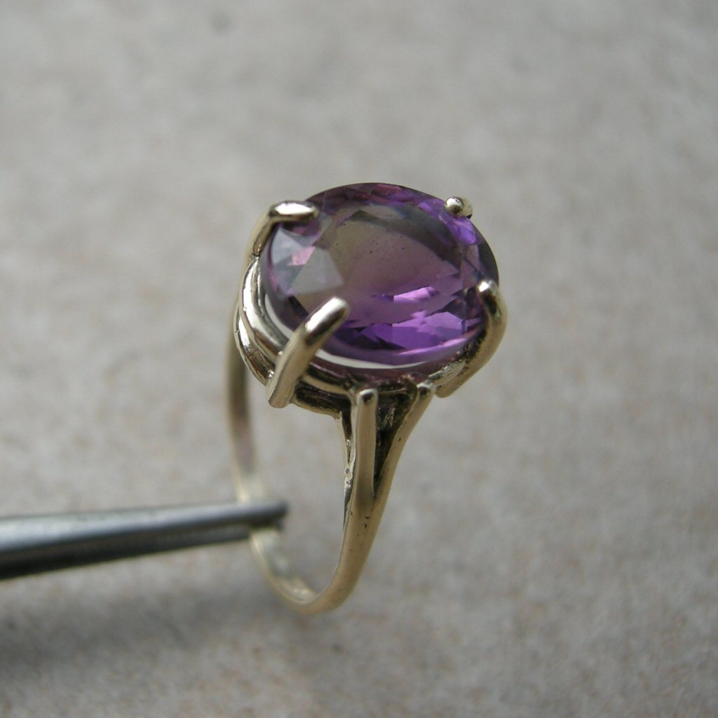 Yellow Gold Ring 3.75ct Ametrine Violet Bicolor