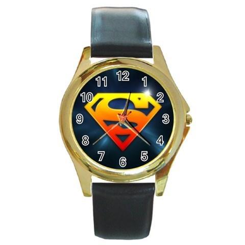 NEW* HOT SUPERMAN LOGO Gold Tone Unisex Round Metal Wrist ...