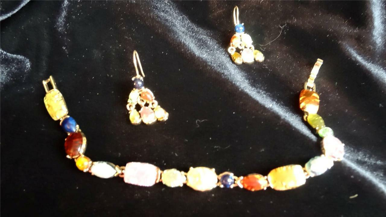 Vintage Luminous Multi Colors and Shape Bracelet and Dangle Pireced Earrings