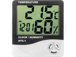 Digital Alarm Clock Thermometer Hygrometer Indoor Room Temperature Senso... - $8.90