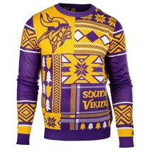 Laid Noël Pull NFL Minnesota Vikings Patchs Football Vacances Noël Ras - $72.00