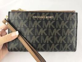 Michael Kors Jet Set Double Zip Wristlet Phone Wallet PVC Brown Signatur... - $79.99
