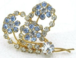 Vintage Gold Tone Blue Clear Rhinestone Heart Flower Pin Brooch - $25.25