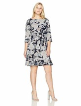 Sandra Darren Women'S 1 Pc Plus Size 3/4 Sleeve Puff Shift With Flounce ... - $86.01+