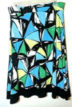 Studio G Size 4 Midi Skirt Bright Color Block Abstract Black White Blue ... - $16.95