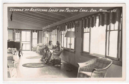 Northland Lodge Veranda Interior Pelican Lake Orr Minnesota RPPC postcard - $7.43