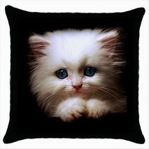 NEW* LOVELY KITTEN BLUE EYES Black Cushion Cover Throw Pillow Case Gift - $18.99