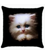 NEW* LOVELY KITTEN BLUE EYES Black Cushion Cover Throw Pillow Case Gift - £13.52 GBP