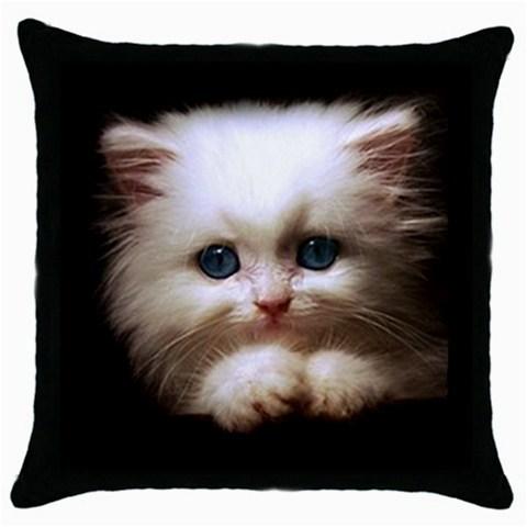 NEW* LOVELY KITTEN BLUE EYES Black Cushion Cover Throw Pillow Case Gift