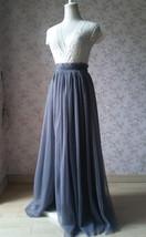 Grey Split Tulle Skirt Grey Long Tulle Skirt One Side High Split Tutu, US0-US30 image 2