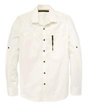 New Mens S EAN John Woven Long Sleeve Zip Pocket Ivory Button Front Shirt $79 - $34.99