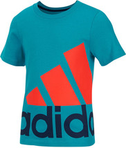 adidas Little Boys' Exploded Logo T-Shirt, Teal, Size 4 - $12.86