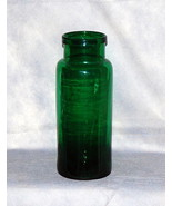 Antique French Bocal Truffle Tall Emerald Green Glass Roll Lip Storage Jar - $295.00