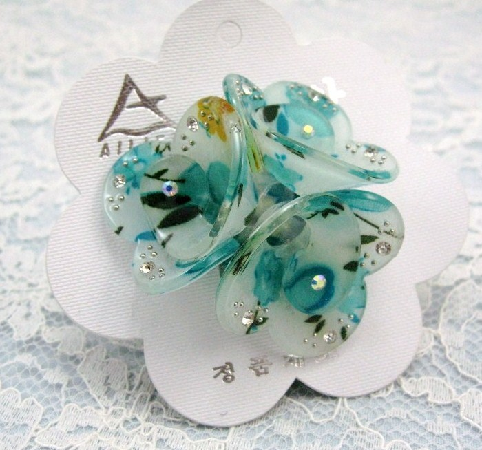 Turquoise flower RHINESTONE HAIR SCRUNCHIE PONY STRETCH