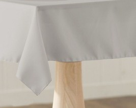 Square Tablecloth Gray Reversible Polyester Fabric Table Linen Made In USA - $14.99