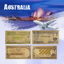 WR Old Australia Pound Set 1/2,1,5,10 Colored Gold Banknote 4PCS Austral... - $7.74