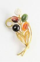 ESTATE Jewelry  VINTAGE HAWAIIAN MULTI GEMSTONE CARVED FLOWER BROOCH - $25.00