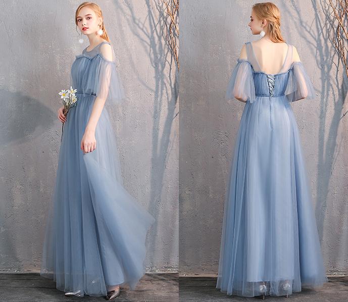Bridesmaid tulle dress dusty blue 16