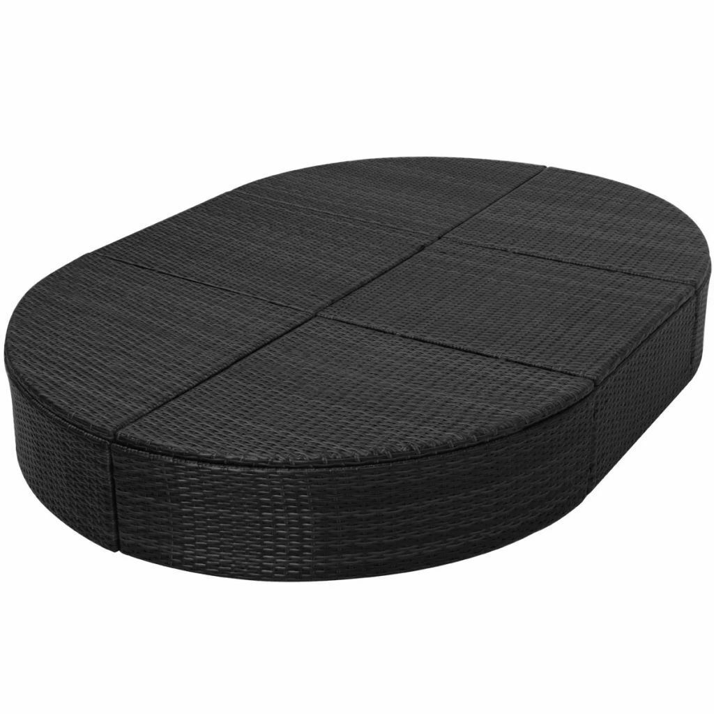 """vidaXL Sunlounger with Cushion Poly Rattan 78.7"""" Lounge Beds Seat Black/Brown image 12"""