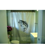 Printed Shower Curtain largemouth bass fish fishing trophy outdoors  - $90.00