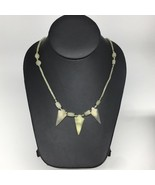 "13.7g,2mm-29mm, Small Green Nephrite Jade Arrowhead Beaded Necklace,19"",... - $4.75"