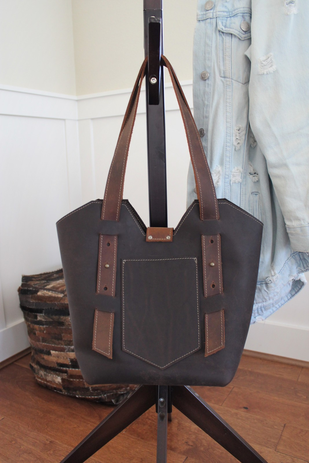 Personalized Chocolate Brown Leather Women's Shoulder Bag, More options