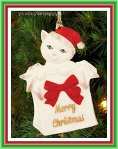 """Lenox Merry Christmas  """"Kitty Christmas"""" Ornament Kitty in Bag  New in Box - $29.69"""