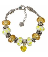 Topaz Charm Bracelet With European Bead Charms For Women, Stainless Stee... - $34.82