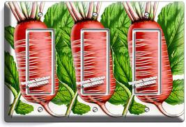 Red Radish Retro Gravure Triple Gfi Light Switch Plate Cover Vegan Kitchen Decor - $16.19