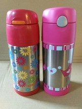 Lot of 2 FUNTAINERS Thermos 12oz Insulated Bottle Cold Drinks Flowers Pr... - $14.99