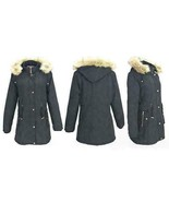 Size 16 Lee Hanton Womens Sherpa Lined Military Style Parka Jacket BLACK... - $48.02