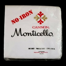"""Vtg Cannon Monticello Solid White Twin Flat Sheet No Iron Muslin 72"""" x 1... - $12.99"""